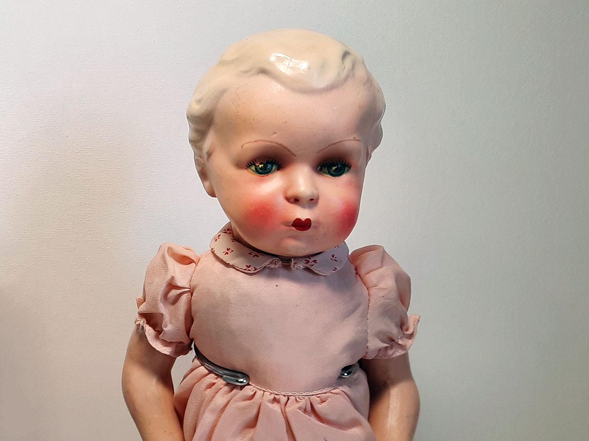 Gespoten porseleinen poppen Duitsland roze 1