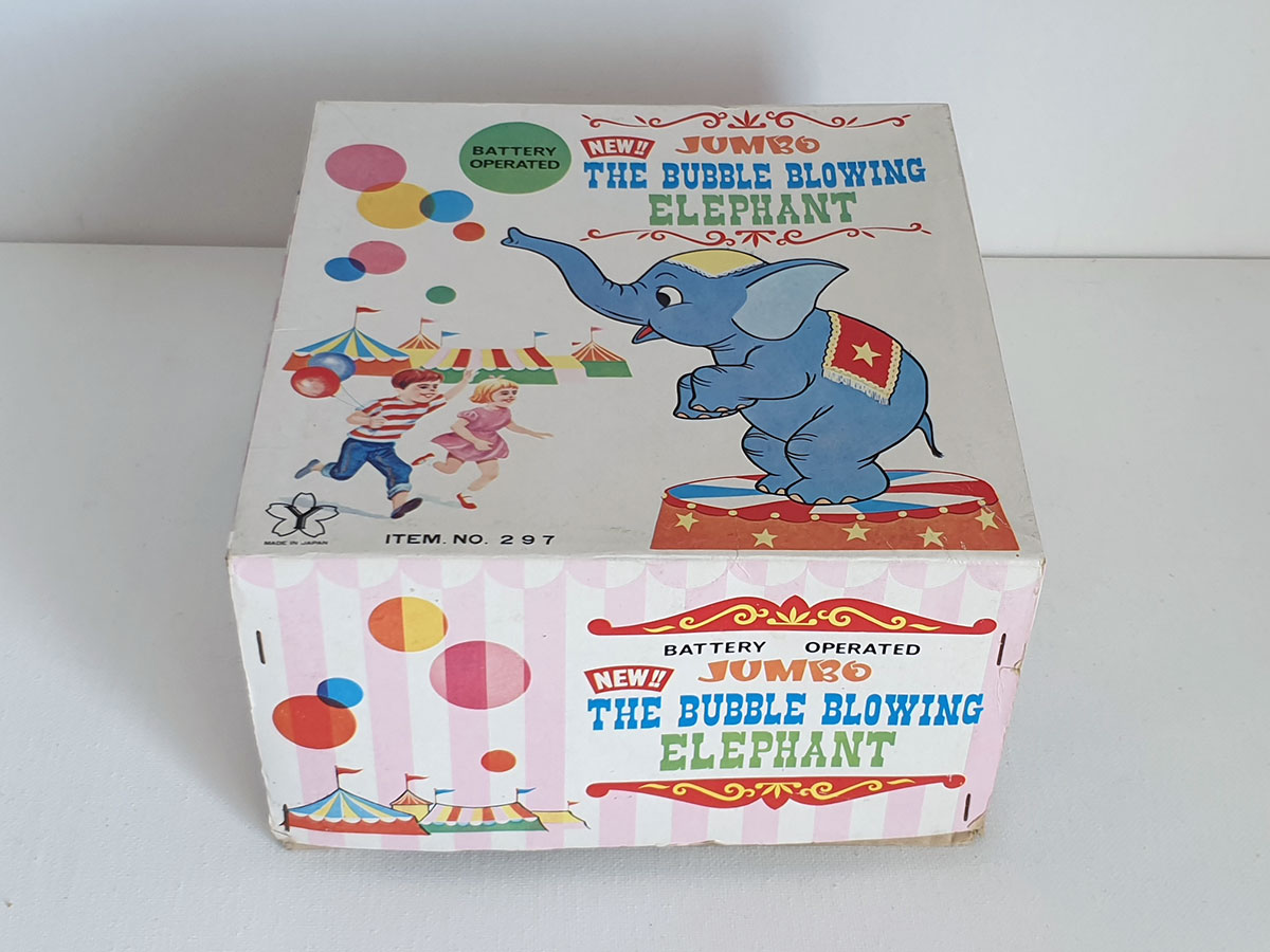 Yonezawa Jumbo the Bubble Blowing Elephant box top